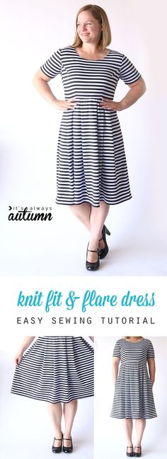 This is cute! The post shows you how to sew the perfect knit fit & flare…
