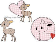 Reh Emily ♥ Reh doodle Stickdateien Set für die Stickmaschine. Deer Doodle Set. Deer appliqué embroidery designs for embroidery machines.