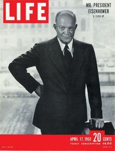 """life: """" March President Eisenhower dies in Washington D., at the age of Pictured above, Eisenhower graces the cover of the April 1950 issue of LIFE Magazine. American Presidents, American Soldiers, Black Presidents, Native American History, British History, Presidential History, Presidential Portraits, Dwight Eisenhower, Life Cover"""
