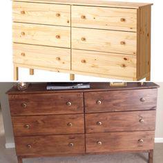 "My Ikea tarva dresser DIY - 1 coat of miniwax gel stain in ""walnut"", and some new drawer pulls. Voila! Inexpensive tv stand w storage"