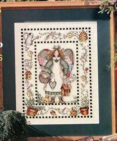 GARDENING ANGEL SAMPLER CROSS STITCH PATTERN BY JANE CHANDLER