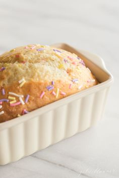 Life is better with sprinkles! You'll love this easy funfetti bread that takes just 5 minutes to make, 40 to bake! This sweet quick bread recipe is always a crowd pleaser!