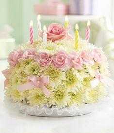 Flower Birthday Cake...replicate design using floral foam...EASY!!!!