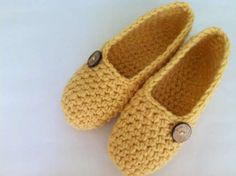 Pantofole all'uncinetto senape - Pantofole all'uncinetto color senape