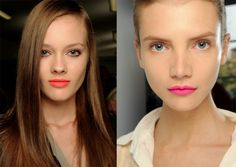 Bright lips. (red for brunette. pink for blonde)