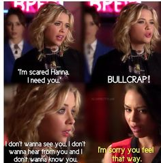 Hanna Marin and Mona Vanderwaal. Best Tv Shows, Best Shows Ever, Abc Family, Im Scared, I Need You, Pretty Little Liars, Actors & Actresses, Pll Quotes, Hanna Marin