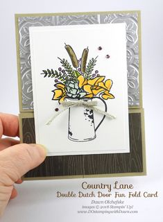 Double Dutch Door Fun Fold Card by Dawn Olchefske, uses Stampin' Up! Country Home, Tin Tile Texture Folder & Stampin' Blends for DOstamperSTARS Thursday Challenge Fun Fold Cards, Thanksgiving Cards, Animal Cards, Fall Cards, Homemade Cards, Stampin Up Cards, Making Ideas, Birthday Cards, I Card