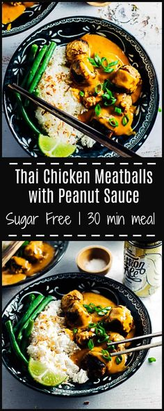 These Thai Chicken Meatballs with Peanut Sauce are lightly spiced, juicy and melt in your mouth, & the peanut sauce is so deliciously moreish you'll want to lick the plate. Pork Recipes, Asian Recipes, Chicken Recipes, Cooking Recipes, Healthy Recipes, Ethnic Recipes, Chicken Meals, Family Recipes, Healthy Food