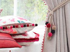 ROMO is proud to introduce its latest assortment of trimmings, including two tie backs, an innovative two-colour fringe accompanied by pom-poms, beads and Romo Fabrics, Made To Measure Curtains, Passementerie, Home Decor Furniture, Soft Furnishings, Decoration, Boho Decor, Diy And Crafts, Creations