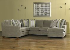 No striped pillows all the same.  akt  Ricky -sectional for family room available at Razooks