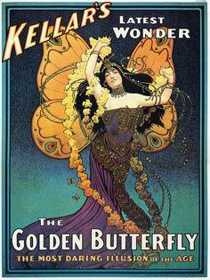 Vintage Kellar Golden Butterfly Alphonse Mucha Style Mystic Magic Magician Poster 24 X 32 Fine Art Print Giclee via Etsy
