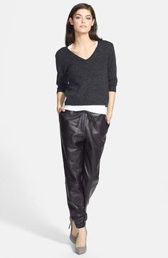 Chelsea28 V-Neck Sweater & Trouvé Leather Pants  available at #Nordstrom