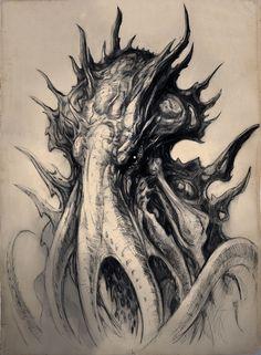 ArtStation - Old HP Lovecraft Sketches - planning more to come, TJ Frame Hp Lovecraft, Lovecraft Cthulhu, Cthulhu Tattoo, Cthulhu Art, 4 Tattoo, Dark Tattoo, Arte Horror, Horror Art, Kraken Art