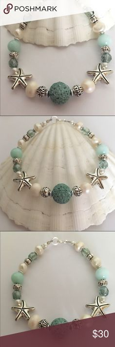 Essential Oil Beach Bracelet ☀️ ✨ Gorgeous Artisan beaded Bracelet with Sea Green Lava Stone, Freshwater Pearls, Amazonite Gemstone, Faceted Picasso Glass and Antique Silver Starfish and Beads! Sterling Silver Clasp. Can be used with Essential Oil ( put drop on lava Bead) sample oil included Jewelry Bracelets