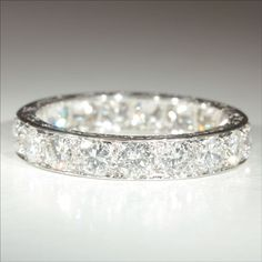 Vintage French Retro 3.8ctw Diamond Eternity Ring in Platinum c.1940. In my dreams.... #DiamondEternityRings