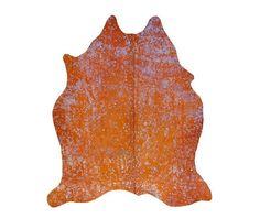 Alfombra Piel de Vaca Acid Wash Plata / Naranja TI-796 Acid Burnt Cow Skin Rug - Orange/Silver de PuraSpain en Etsy