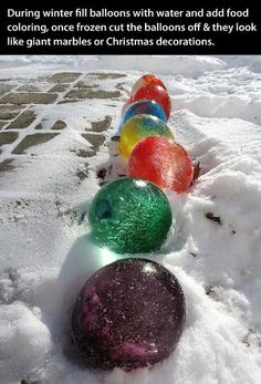 "Frozen Water Balloons as ""Marbles"", that is sooo cool!"
