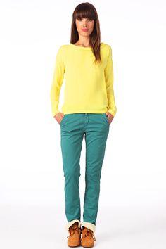 Pantalon chino toile de coton Sandy Bleu canard Reiko sur MonShowroom.com