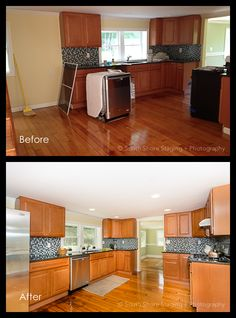 Before and After - Kitchen Real Estate Photography, Beautiful Space, Staging, Kitchen Cabinets, Inspiration, Home Decor, Role Play, Biblical Inspiration, Decoration Home
