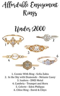 Wedding rings can be really expensive. Don't let all of those expensive rings intimidate you, there are some beautiful engagement rings made by bespoke designers that are under $2000.  Check out the blog for more details.