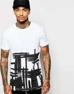 ASOS+Longline+T-Shirt+With+Check+Brushstroke+Print+In+Relaxed+Skater+Fit