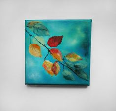 Small painting. Nature painting. Tree leaves painting on canvas. Painting of leaves. Acrylic Painting. Original painting. 6x6 on Etsy, $60.00