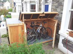 Bike Storage Shed . Bike Storage Shed . Bike Storage Shed Just Outside the Garage Door to the Side Bike Storage Shed Plans, Diy Storage Shed, Backyard Storage, Bin Storage, Garage Storage, Small Shed Plans, Wood Shed Plans, Small Sheds, Outdoor Bicycle Storage