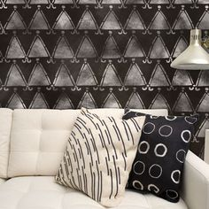 Wall Stencil inspired by Nigerian Indigo print | African Tribal Triangles in Black and White| http://www.royaldesignstudio.com/