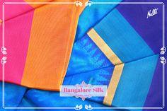 Little temple designs on the border make this rich blue Bangalore silk saree so endearing! Priced INR 5,187/-, visit our website to buy!  #Nalli #silksareesonline #bangalore #bangaloresilk  #bangaloresilksaree #bluesari #ethnic #indianfashion #fashion