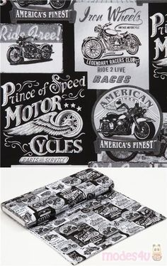 """black, white, grey cotton fabric with motorbikes, text such as """"prince of speed"""", """"life is a journey"""" etc., Material: 100% cotton, Fabric Type: smooth cotton fabric #Cotton #Transport #USAFabrics"""