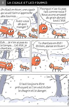 Fable d'Esope en BD - LA CIGALE ET LES FOURMIS Fable Fontaine, Fables D'esope, Fable 3, French Cartoons, French Classroom, French Immersion, Baby Education, Language Activities, Teaching French