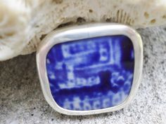 Broken China Ring Sterling Silver Flow Blue   by MaroonedJewelry