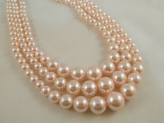 Pink 3 Strand Vintage 1950's Necklace / Pearl Necklace / by VintageBaublesnBits, $22.00