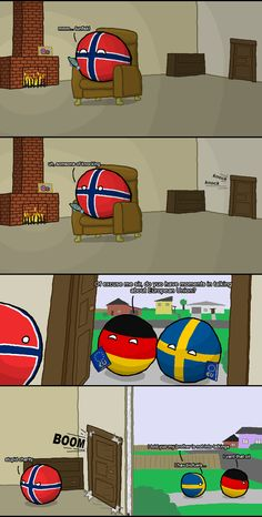"""""""of excuse me sir"""" ( Norway, Germany, Sweden ) by zimonitrome #polandball #countryball #flagball"""
