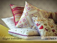 Add vibrancy to your life & home with Elegant Embroidery #Collection by #HomesFurnishings.  Explore more on www.homesfurnishings.com #HomeDecor #HomeFabrics #Cushions #Furnishings #EmbroideryCollection