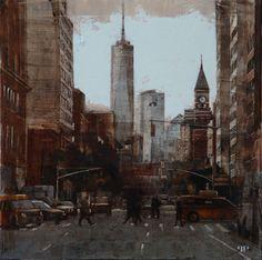"Patrick Pietropoli, New York Street VII, 2014, Oil on Linen, 20"" x 20"" #art #axelle #painting #nyc #streetscape #urban"