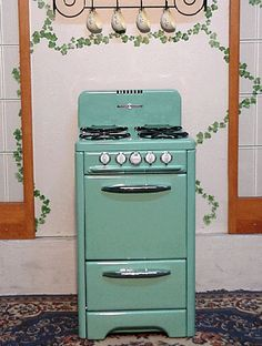 Antique Gas Stoves Mint Green Porcelain Vintage O'Keefe & Merritt