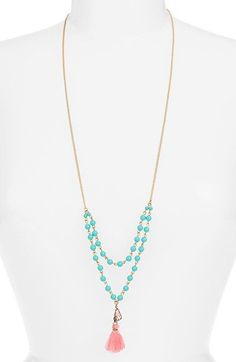 Free shipping and returns on BP. Beaded Tassel Layering Necklace at Nordstrom.com. A single teardrop crystal swings aside the tassel of this cheerfully bright layering necklace, a colorful accent to the season's boho focus.