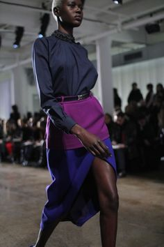 London, Preen SS11 | Love the color combo in this outfit ; indigo, navy, aubergine?