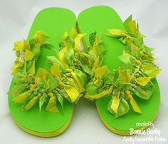Decorating flip-flops with ribbons