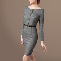 2016秋冬装新款女装 OL优雅复古修身显瘦羊毛呢连衣裙有大码
