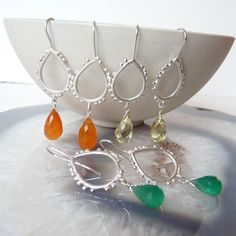 Drop Shape Granulation Hooks made from sterling silver with semi precious gemstone drops - carnelian, lemon Quartz, green onyx
