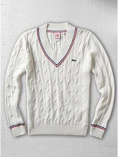 Lacoste Cotton Cable V-Neck Sweater