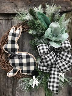 Easter Plaid Bunny with black and white buffalo plaid bow, wreaths, wreath for front door, Bunny Wreaths for door by DesignsbyDebbyOhio on Etsy Farmhouse style feel wreath for your front door door, Monogram Wreath Buffalo Check Wreath Year Round Wreath Monogram Wreath, Diy Wreath, Wreath Ideas, Easter Wreaths, Holiday Wreaths, Wreaths For Front Door, Door Wreaths, Easter Crafts, Easter Decor