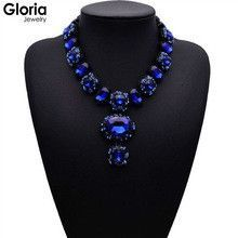 2015 New fashion big gem statement vintage choker pendant necklaces for women high qualoty water drop crystal necklaces G223