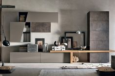 Sectional storage wall UNIT By Gruppo Tomasella Tv Unit Design, Tv Wall Design, Living Room Wall Units, Living Room Designs, Home Interior, Interior Design, Home Furniture, Furniture Design, Modern Tv Wall Units