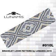 Loom bracelet pattern, loom pattern, square stitch pattern, pdf file, pdf pattern, cuff, #010L by LunamisBeadsPatterns on Etsy https://www.etsy.com/listing/277767324/loom-bracelet-pattern-loom-pattern