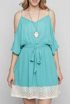 Love Contract Lace Contrast Open Shoulder Dress in Turquoise | Sincerely Sweet Boutique