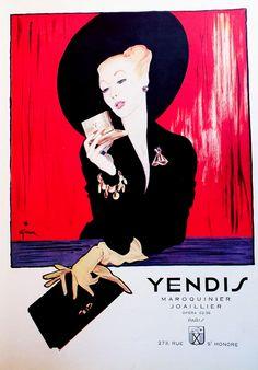Illustration by René Gruau, Winter 1946-47, Joaillier Yendis, Mode Figaro.