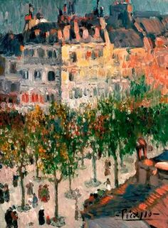 ۩۩ Painting the Town ۩۩ city, town, village & house art - Pablo Picasso - Boulevard de Clichy, Never would I have guessed that this was painted by Picasso. Maybe they mean Horace Picasso? Kunst Picasso, Art Picasso, Picasso Paintings, Spanish Painters, Spanish Artists, Malaga, Guernica, Georges Braque, Prado